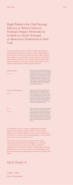 'Pulaski' is a Squarespace template suited for an online résumé, personal site or even minimal One Page portfolio with stylish typography and generous whitespace. Parlor Games, Online Resume, One Page Website, First Page, Website Template, Lorem Ipsum, Minimal, Typography, Ads