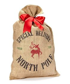 Burlap Santa Sack Christmas Present Bag Wrapping ** Check out this great product. (This is an affiliate link)