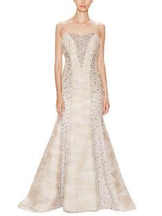 Silk Sequin Paneled Sweetheart Gown  Carolina Herrera