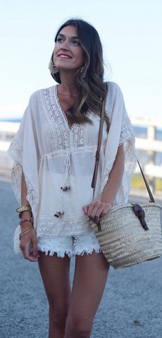 #summer #outfits  White Blouse + White Lace Short