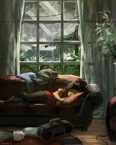 Cosy Rain, ein Kunstdruck von Lucy He Cozy Rainy Day, Rainy Dayz, Art Sketches, Art Drawings, Rain Art, Cute Illustration, Illustration Artists, Aesthetic Art, Cute Art