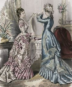Friday's Fashion Plate: 1876 Day Dresses Today we have two dresses from La Mode Illustrée, In the Natural Form style was just beginning. 1870s Fashion, Edwardian Fashion, Vintage Fashion, French Fashion, Ladies Fashion, Gothic Fashion, Vintage Dresses, Vintage Outfits, Vintage Hats