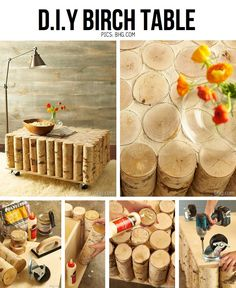 DIY Birch table || I don't know when I would really ever need/make this, but the whole idea is cool.