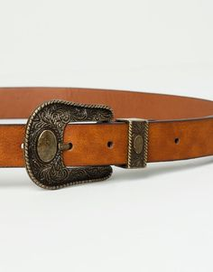 BELT WITH COWBOY BUCKLE - LEATHER