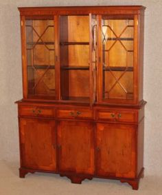 Yew wood 3 Door Glazed Bookcase / Dresser with cupboards and shelving. Antique Chest, Cupboards, New Furniture, Shelving, Dresser, Bookcase, Victorian, The Originals, Antiques