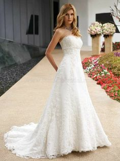 Gorgeous A-line Sweetheart Floor-Length Chapel Lace Wedding Dress Wedding Dress Styles, Dream Wedding Dresses, Bridal Dresses, Bridesmaid Dresses, Jasmine Bridal, White Lace Wedding Dress, Wedding Looks, Marie, Outfit