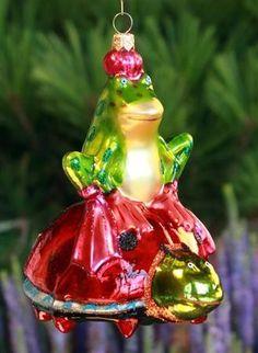 Frog On Ladybug Glass Ornament