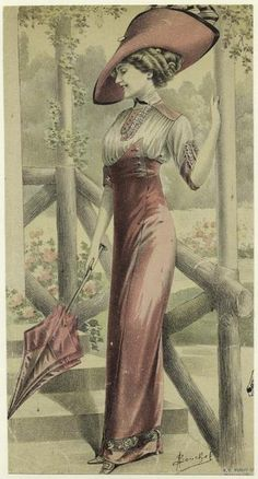 Woman in red dress with parasol, 1910s  illustration by A. Souchel