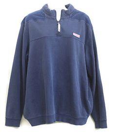 Marthas-Vineyard-Vines-Mens-1-4-Zip-Blue-Pullover-Large-Jacket-Fleece-Sweater
