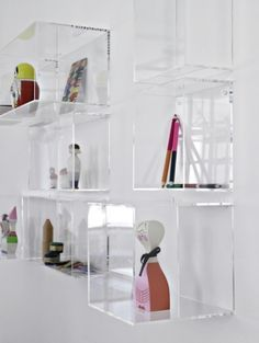 Clear Shelves On The Wall Above Couch Plastic Storage Box Gl