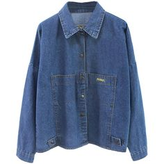 Choies Blue RANGER Embroidery Bat Sleeve Denim Coat ($30) ❤ liked on Polyvore featuring outerwear, coats, tops, jackets, shirts, blue, embroidered coat, blue coat e denim coat