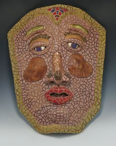 """Mixed Media Paper Mache Mask:  """"Warrior Of Peace""""  (Paper Mache Form, Copper, Leather, Sand, Seed Beads - designed and created by Karen J Lauseng"""
