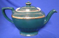 Hall China Teapot Pottery Tea Pot Gold USA 0120 4 8 Cup Green Vintage Collectibl
