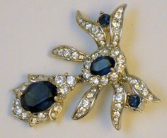 Vintage Signed Attwood & Sawyer Dangle Sapphire Rhinestone Brooch
