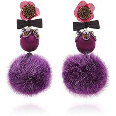 Ranjana Khan Pink and Purple Large Pom Earrings ($525) ❤ liked on Polyvore featuring jewelry, earrings, purple, ranjana khan, rabbit jewelry, pink earrings, pink jewelry and earring jewelry
