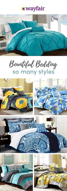 From cool and serene (think crisp white duvet) to plush and cozy (color-pop pillows and velvet galore), get your bedroom to sanctuary-status! With florals and geometrics, thread count and unique styles, we have bedding options for every look and budget. Yellow Comforter Set, Black Bedding, Bedding Sets, White Duvet, Dream Bedroom, Home Decor Bedroom, Master Bedroom, Bedroom Ideas, Summer Bedroom