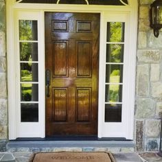 Front Door is Stained then triple-coated with Hand-brushed Fine Paints of Europe Marine Varnish Fine Paints Of Europe, Custom Paint, Seasonal Decor, Paint Colors, Traveling By Yourself, Photo And Video, Stencils, Neutral, Stains