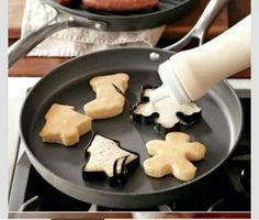 Use cookie cutters for pancakes