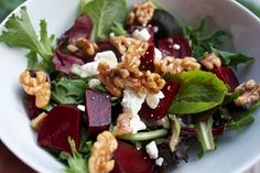 Roasted Beet Salad with Orange Balsamic Vinaigrette - Healthy, Hungry, and Happy Real Food Recipes, Cooking Recipes, Healthy Recipes, Healthy Foods, Vegetarian Recipes, Salad Bar, Soup And Salad, Clean Eating, Healthy Eating