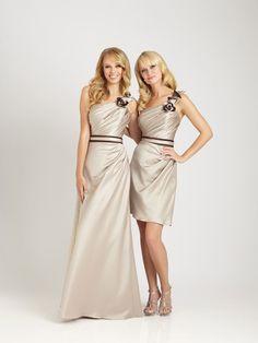 Sheath/Column One Shoulder Sleeveless Floor-length Elastic Woven Satin Bridesmaid Dress #WX325