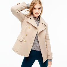 J.Crew Looks We Love: women's stadium-cloth majesty peacoat, Collection textured crewneck sweater, Martie pant, linen pocket square in batik floral and Colette d'Orsay kitten heels in mermaid glitter.