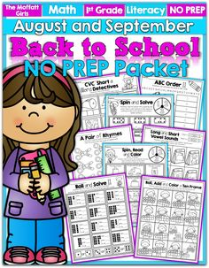 Back to School NO PREP Packets for FIRST GRADE! Learning becomes a GAME with this hands-on packet that teaching 1st Grade skills! #TPT