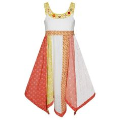 16866eadc2 Details about Girls Large Button Golden Dress New Kids Sleeveless Party  Dresses 2-11 Years