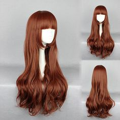 Elegant Red Brown Heat-Friendly Synthetic Cosplay Wig Costume Cartoon Character Full Bang