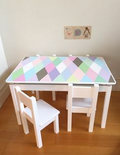 Gorgeous Pastel Geometric Pattern Small Table And Chair Set For Children.  Desk And Chair Set Harlequin Design Girls By Littlebigdesignsshop