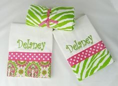 Pink & Green Zebra Monogrammed Gift Set    Items Pictured in Set:  Nursing Cover and 2 Deluxe Burp Cloths