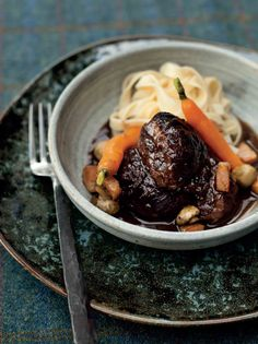 Daube of pork cheeks recipe from Kitchin Suppers by Tom Kitchin Tom Kitchin Recipes, Pork Cheeks, Marinated Pork, Glazed Carrots, Suppers, Pork Roast, Food And Drink, Yummy Food, Foods