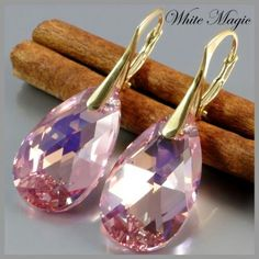 Whitemagicpl-Earrings with SWAROVSKI ELEMENTS Silver 925 + Gold plated 24K- different colors-Light Rose-$20.70