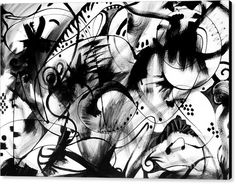 Black And White Abstract .lines Canvas Print featuring the painting More Than 50 by Expressionistartstudio Priscilla-Batzell