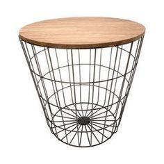 Storage Wire Basket Table - Natural & Black
