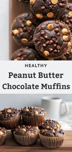 These Chocolate Peanut Butter Muffins are moist, fluffy and the perfect excuse to have chocolate for breakfast! Dairy-Free, too! Peanut Butter Muffins, Peanut Butter Chips, Healthy Peanut Butter, Peanut Butter Recipes, Chocolate Muffins, Chocolate Peanuts, Healthy Chocolate, Chocolate Peanut Butter, Dairy Free Recipes
