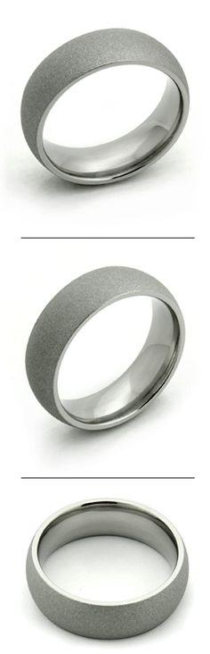 Domed Sandblast Finish Titanium Ring