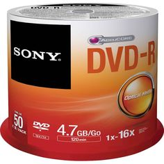 Sony - 16x DVD-R Discs with Spindle (50-Pack) - Metallic (Grey)