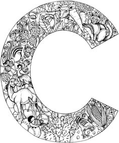 Letter C with Animals coloring page from English Alphabet with Animals category. Select from 26355 printable crafts of cartoons, nature, animals, Bible and many more.