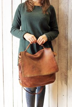 "Handmade Italian Vintage Brown Leather Bag ""TOBACCO BAG 2"" di LaSellerieLimited su Etsy"