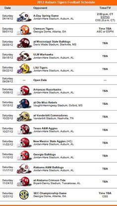 Auburn Tigers Football Team 2012 Schedule