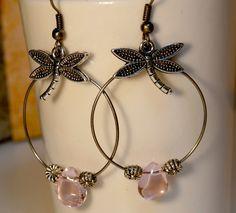 Boucles d'oreilles libellule perle rose