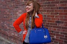 Orange and royal blue on Opal & Violet Loving the Michael Kors bag!
