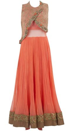 Orange neon anarkali with jacket available only at Pernia's Pop-Up Shop.