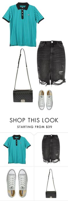 """""""Untitled #3122"""" by takemeouttosea ❤ liked on Polyvore featuring Stussy, River Island, Converse and Chanel"""