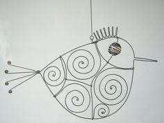 Pink  Eyed Wire Bird Sculpture par MyWireArt sur Etsy, $16.00