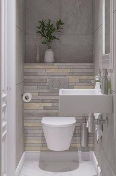 New Bathroom Design Small Layout Storage Ideas bathroom 697706167252284410 Small Downstairs Toilet, Small Toilet Room, Guest Toilet, New Bathroom Designs, Bathroom Design Luxury, Bathroom Design Small, Bathroom Design Layout, Contemporary Bathrooms, Modern Bathroom