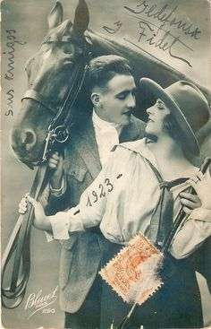 """their Horse"""" Vintage French Postcard - Horse Wedding Photos, Vintage Wedding Photos, Vintage Images, Vintage Romance, Vintage Love, French Vintage, French Artwork, Vintage Artwork, Photo Postcards"""
