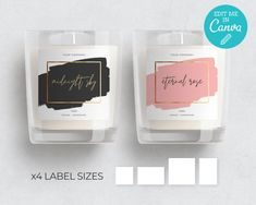 Gold Candle Label Template /  Editable Candle Labels / Minimalist Candle Label / Modern Gold Frame C