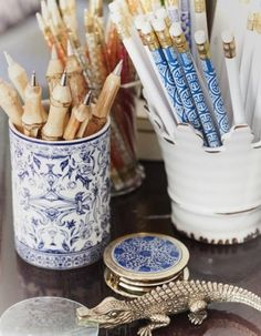 Blue and white desk accessories...gorgeous pens and pencils...Chinoiserie Chic: Saturday Inspiration