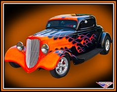 Ford 1934 3 window coupe with fierce orange flames!